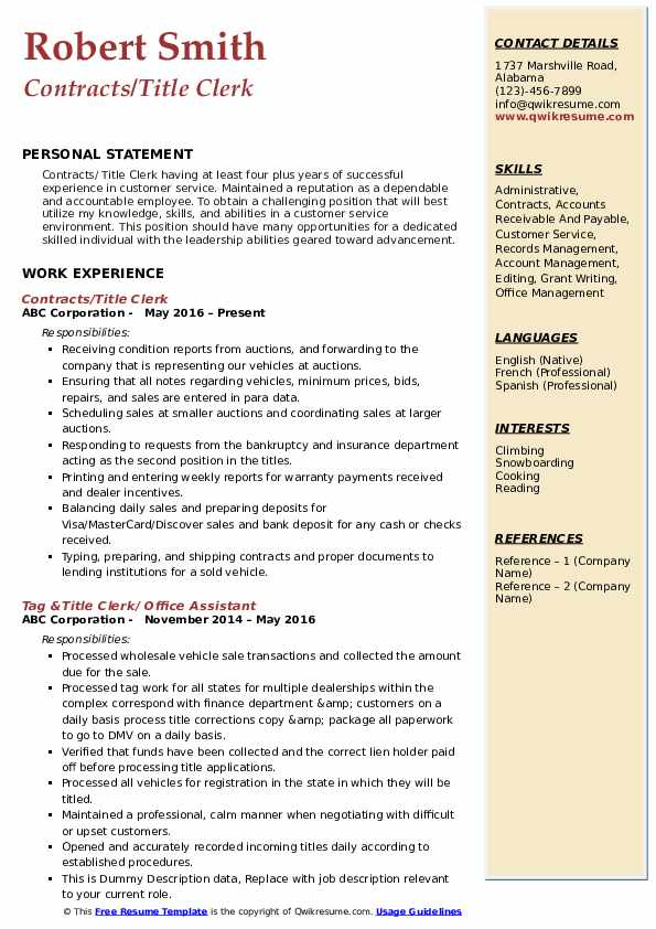 title clerk resume samples
