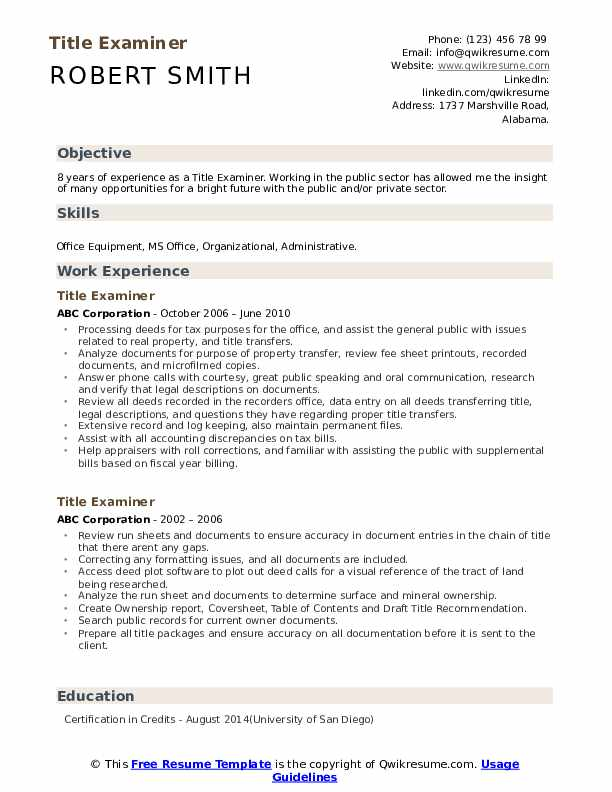 Title Examiner Resume Example