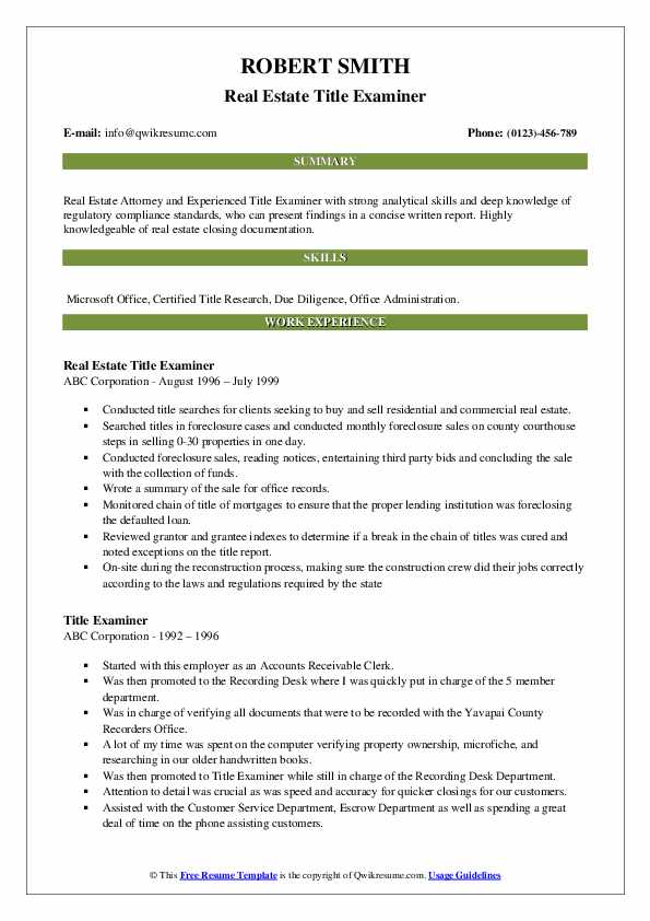 Real Estate Title Examiner Resume Example