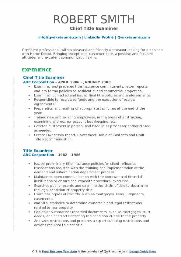 Chief Title Examiner Resume Sample
