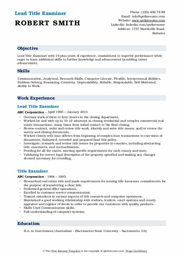 title examiner resume samples