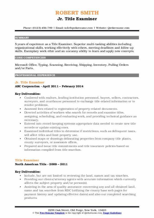 Jr. Title Examiner Resume Model