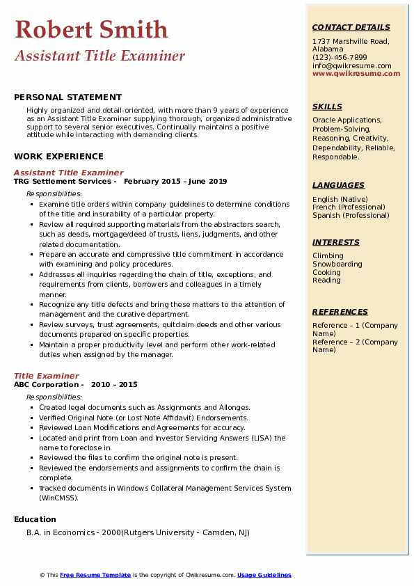 Assistant Title Examiner Resume Format