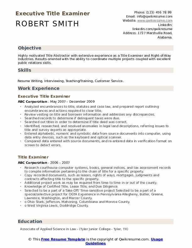 Executive Title Examiner Resume Model