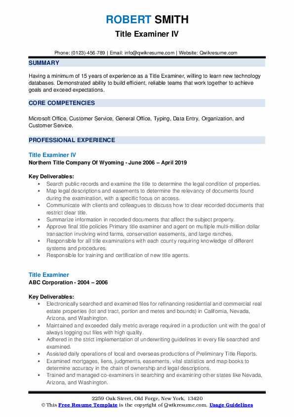 Title Examiner IV Resume Model
