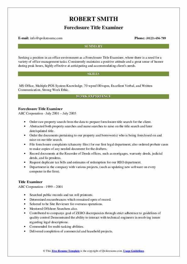 Foreclosure Title Examiner Resume Template