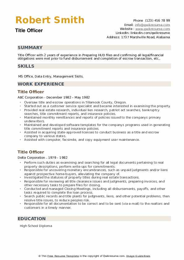 Title Officer Resume example