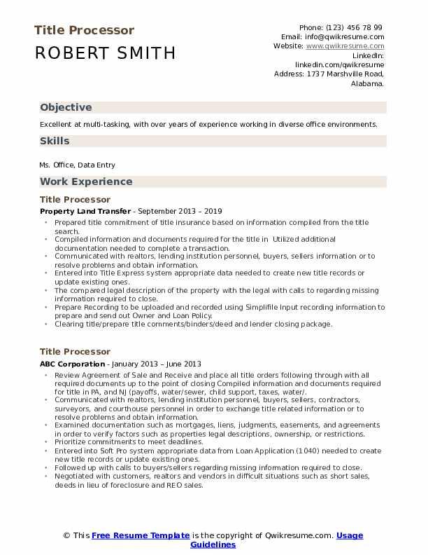 title processor resume samples