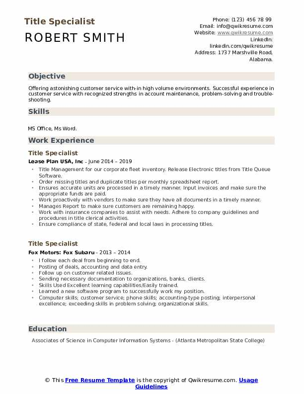 Title Specialist Resume example