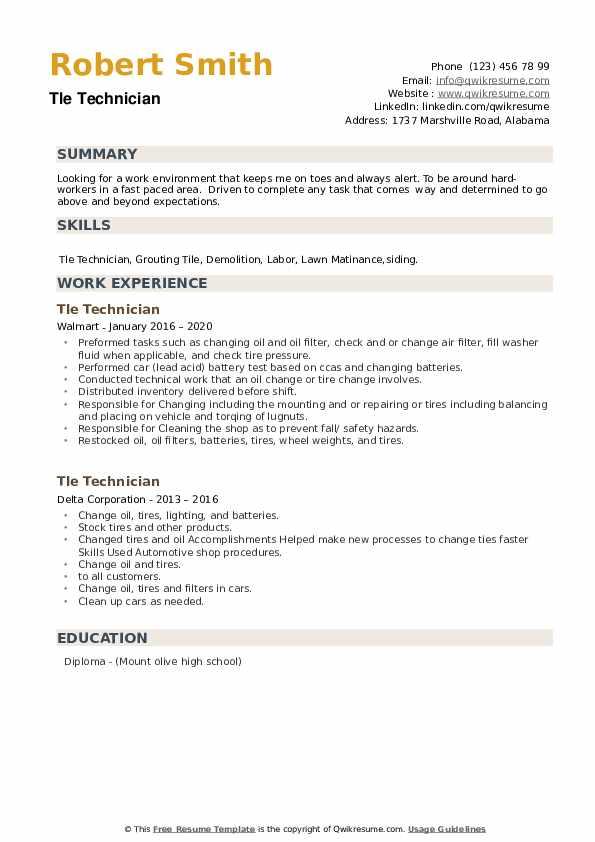 Tle Technician Resume example