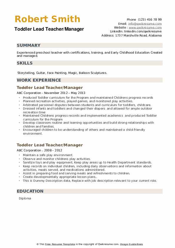 toddler lead teacher resume samples
