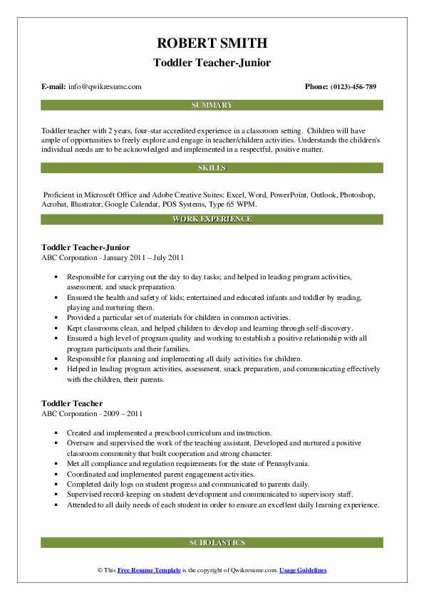 Toddler Teacher-Junior Resume Template
