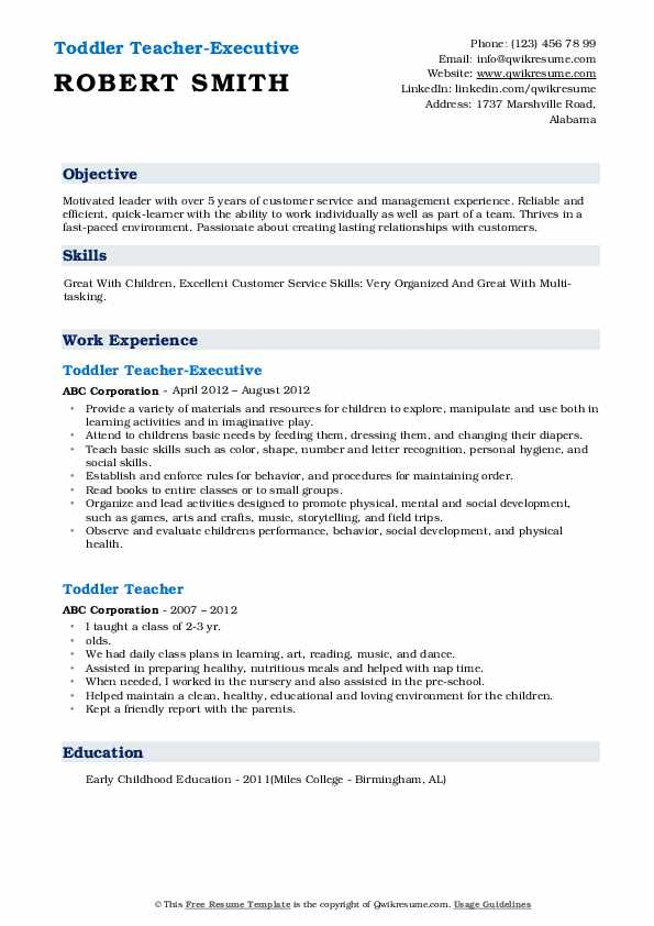 Toddler Teacher-Executive Resume Template