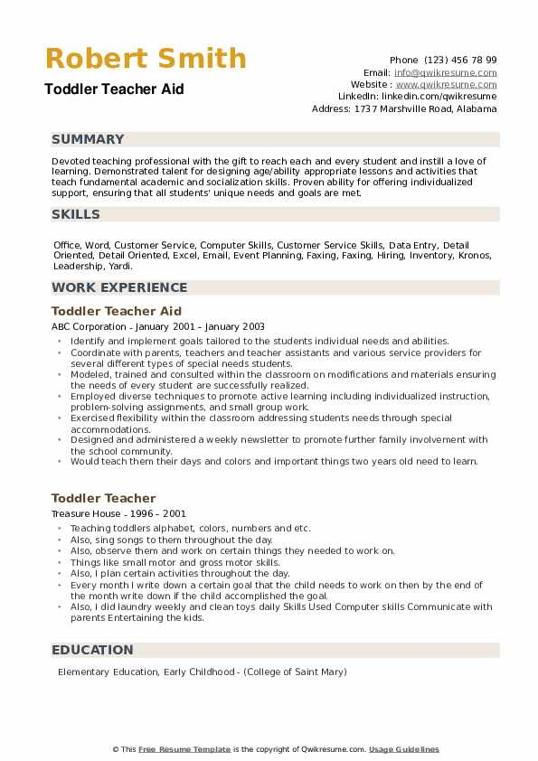 Toddler Teacher Aid Resume Format