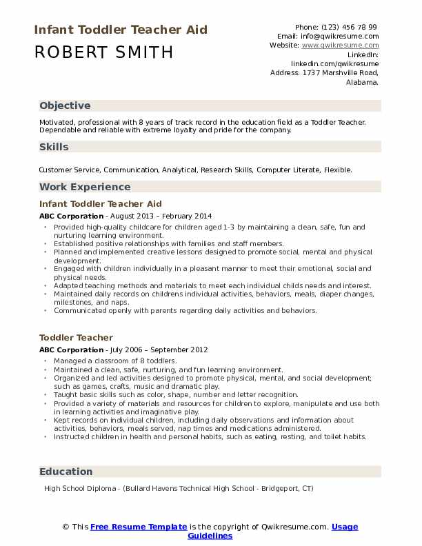 Infant Toddler Teacher Aid Resume Template