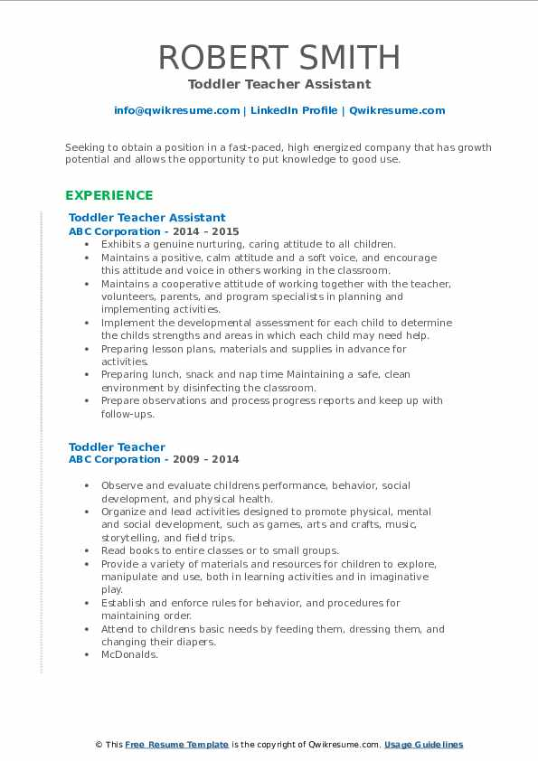 Toddler Teacher Assistant Resume Model