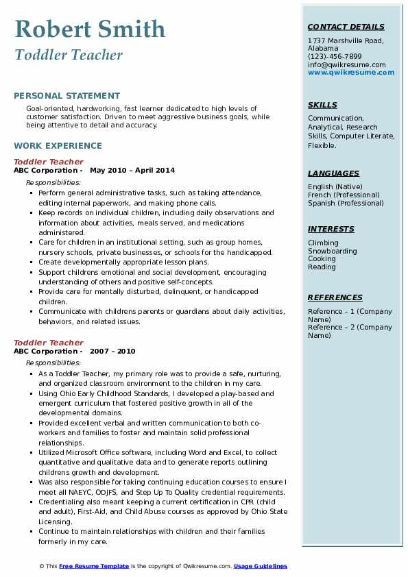 Toddler Teacher Resume example