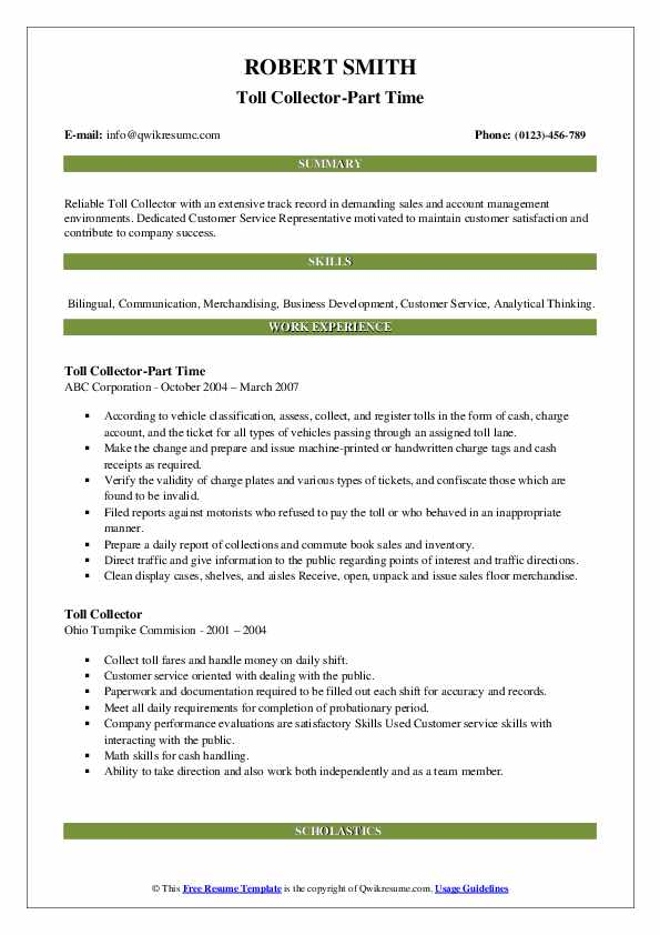 Toll Collector-Part Time Resume Sample
