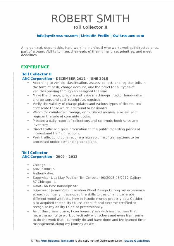 Toll Collector II Resume Example