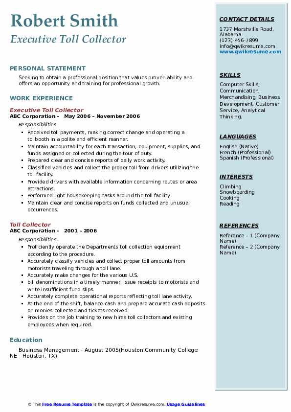 Executive Toll Collector Resume Sample