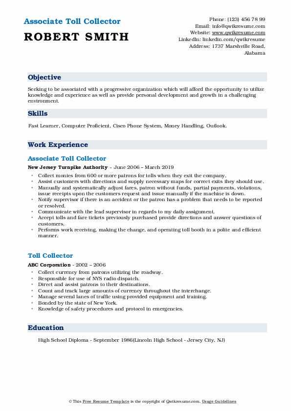 Associate Toll Collector Resume Sample