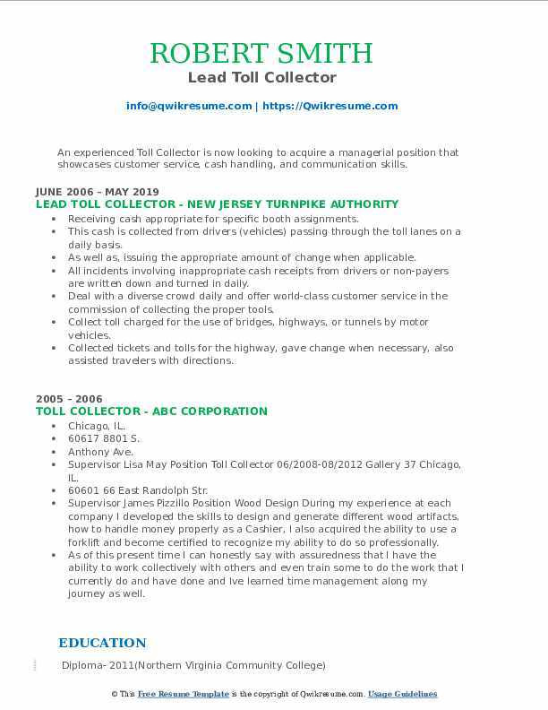 Lead Toll Collector Resume Sample