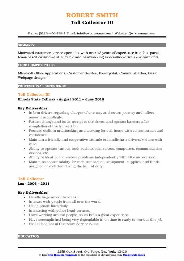 Toll Collector III Resume Format