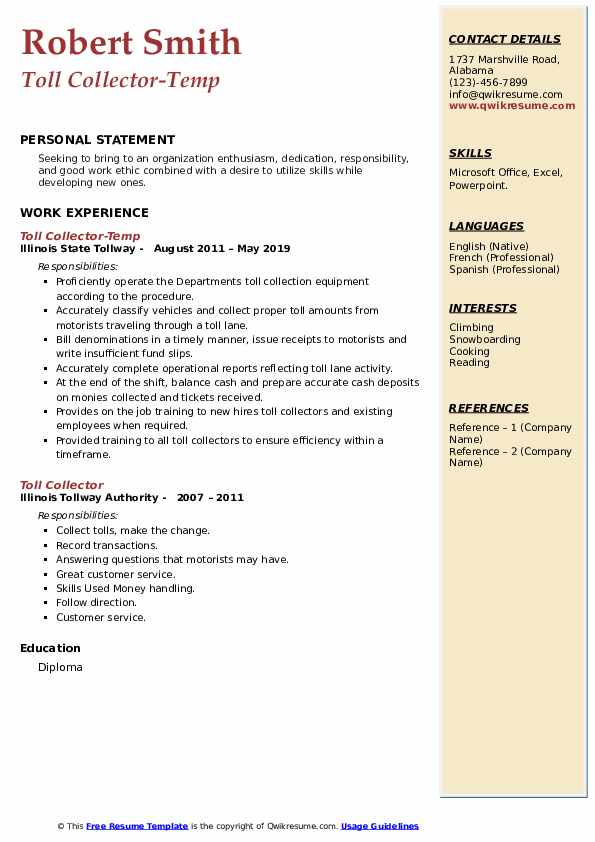 Toll Collector-Temp Resume Model