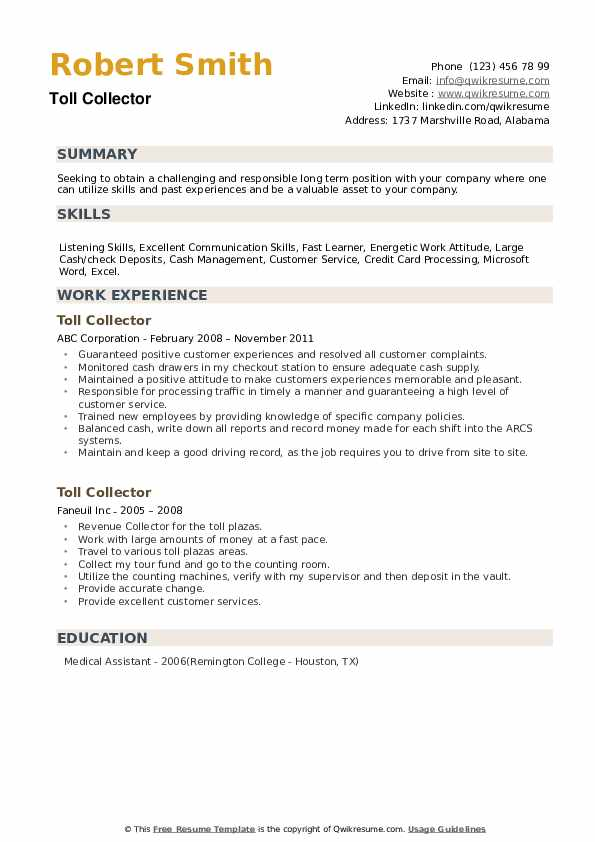 Toll Collector Resume example