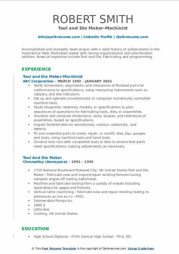 Tool and Die Maker-Machinist Resume Model