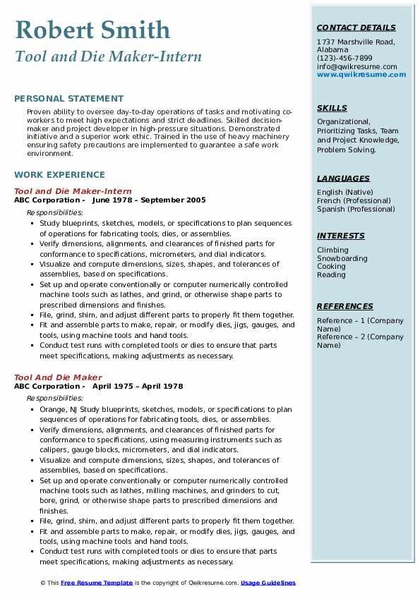 Tool and Die Maker-Intern Resume Model