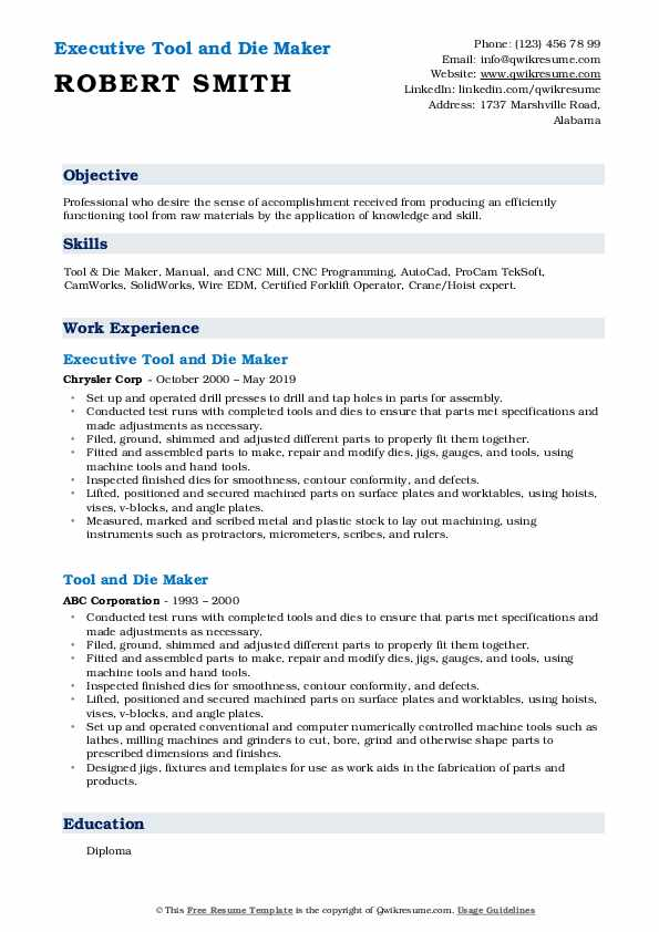 Executive Tool and Die Maker Resume Sample