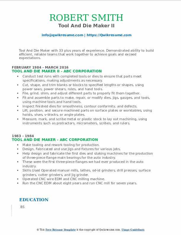 Tool And Die Maker II Resume Format