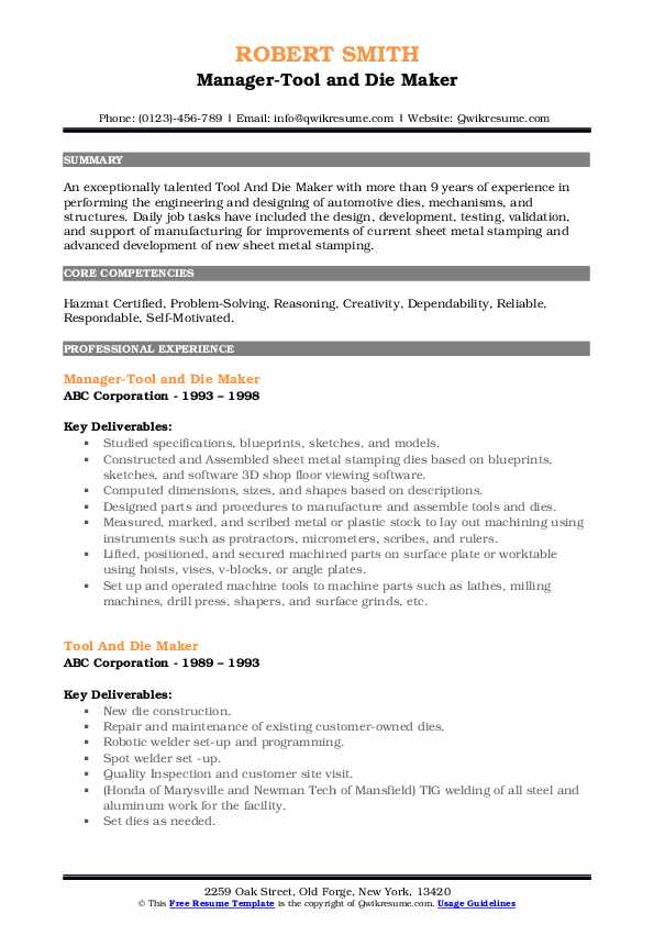 Manager-Tool and Die Maker Resume Model