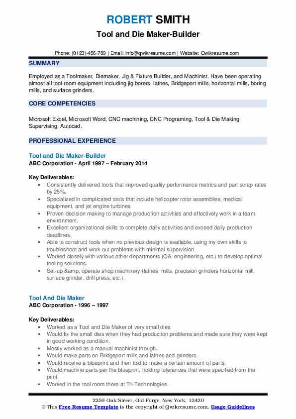 Tool and Die Maker-Builder Resume Model