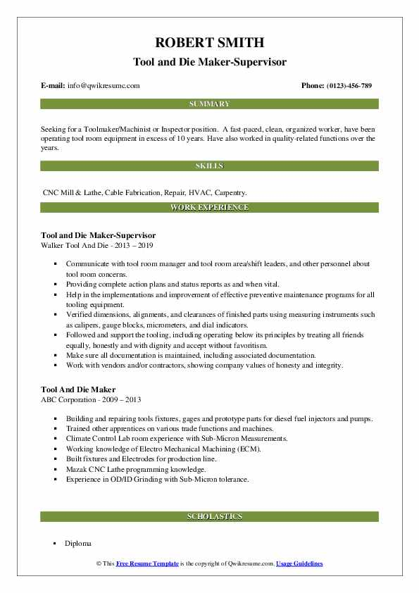 Tool and Die Maker-Supervisor Resume Template