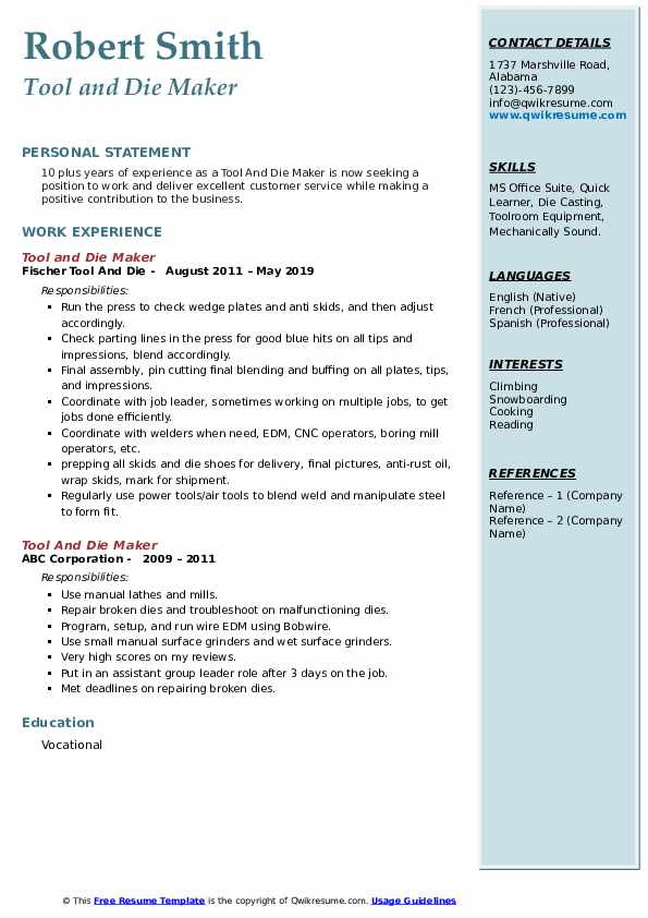 Tool And Die Maker Resume example