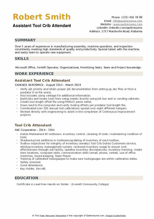 Assistant Tool Crib Attendant Resume Example