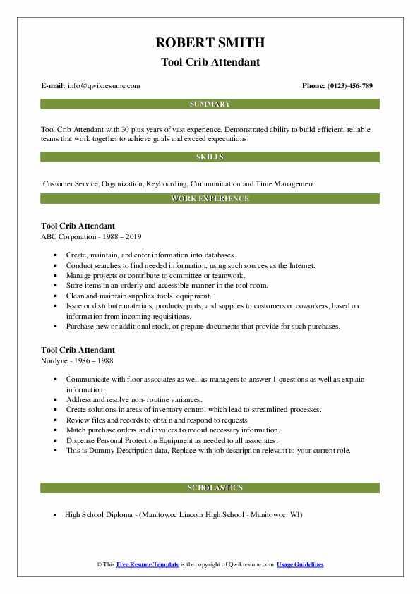 Tool Crib Attendant Resume example