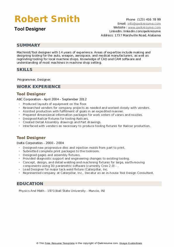 Tool Designer Resume example