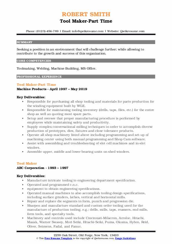 Tool Maker-Part Time Resume Template