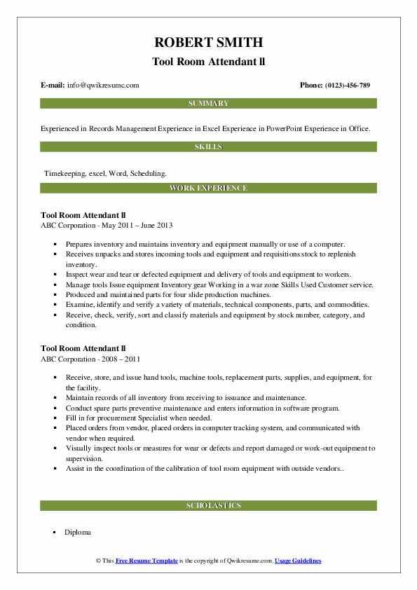 Tool Room Attendant Resume Samples Qwikresume