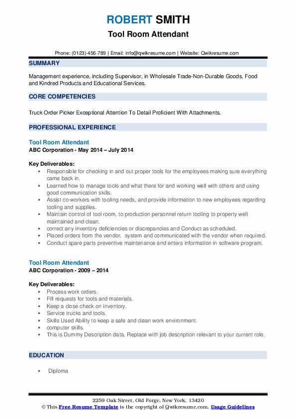 Tool Room Attendant Resume example