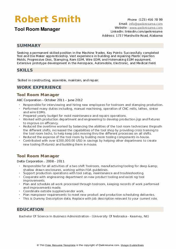 Tool Room Manager Resume example