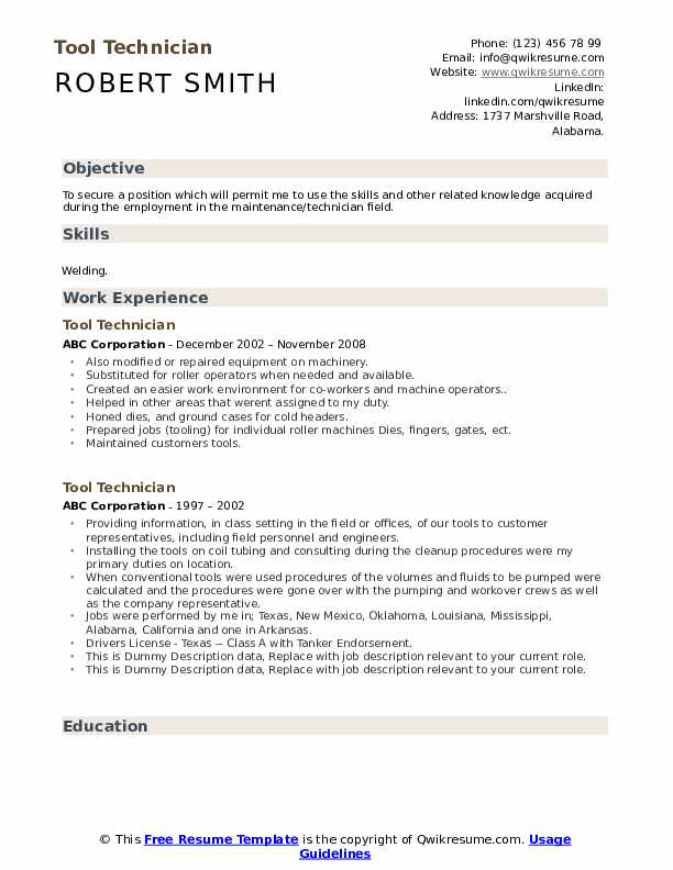 Tool Technician Resume example