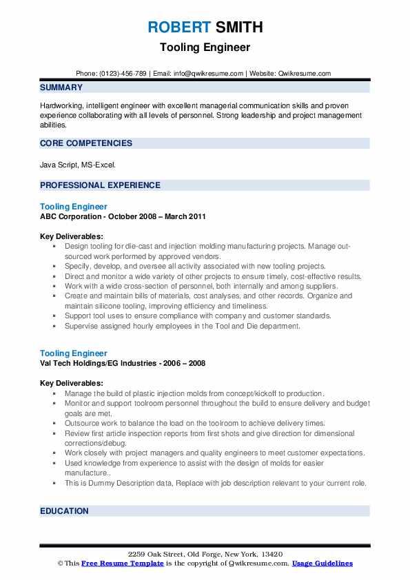 Tooling Engineer Resume example