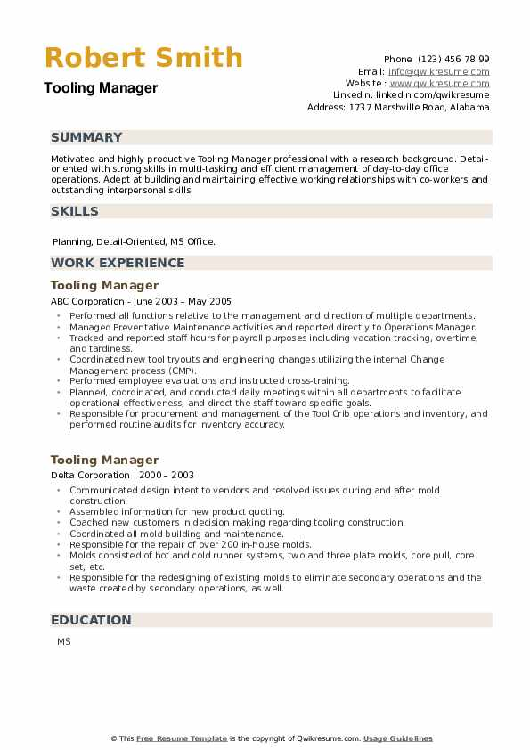 Tooling Manager Resume example
