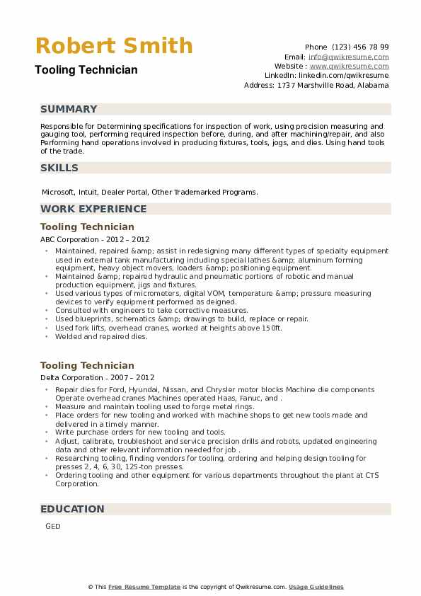 Tooling Technician Resume example