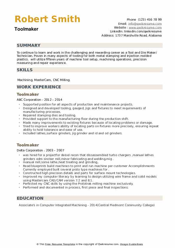 Toolmaker Resume example