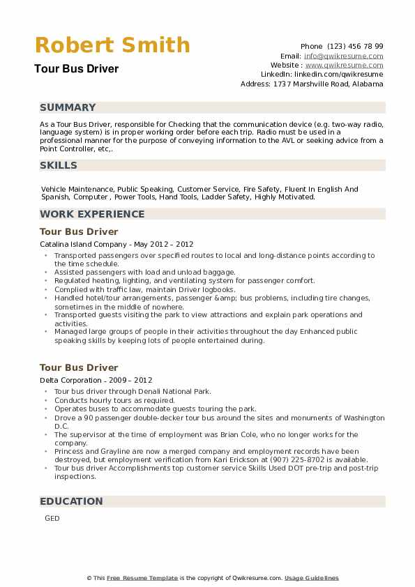 Tour Bus Driver Resume example